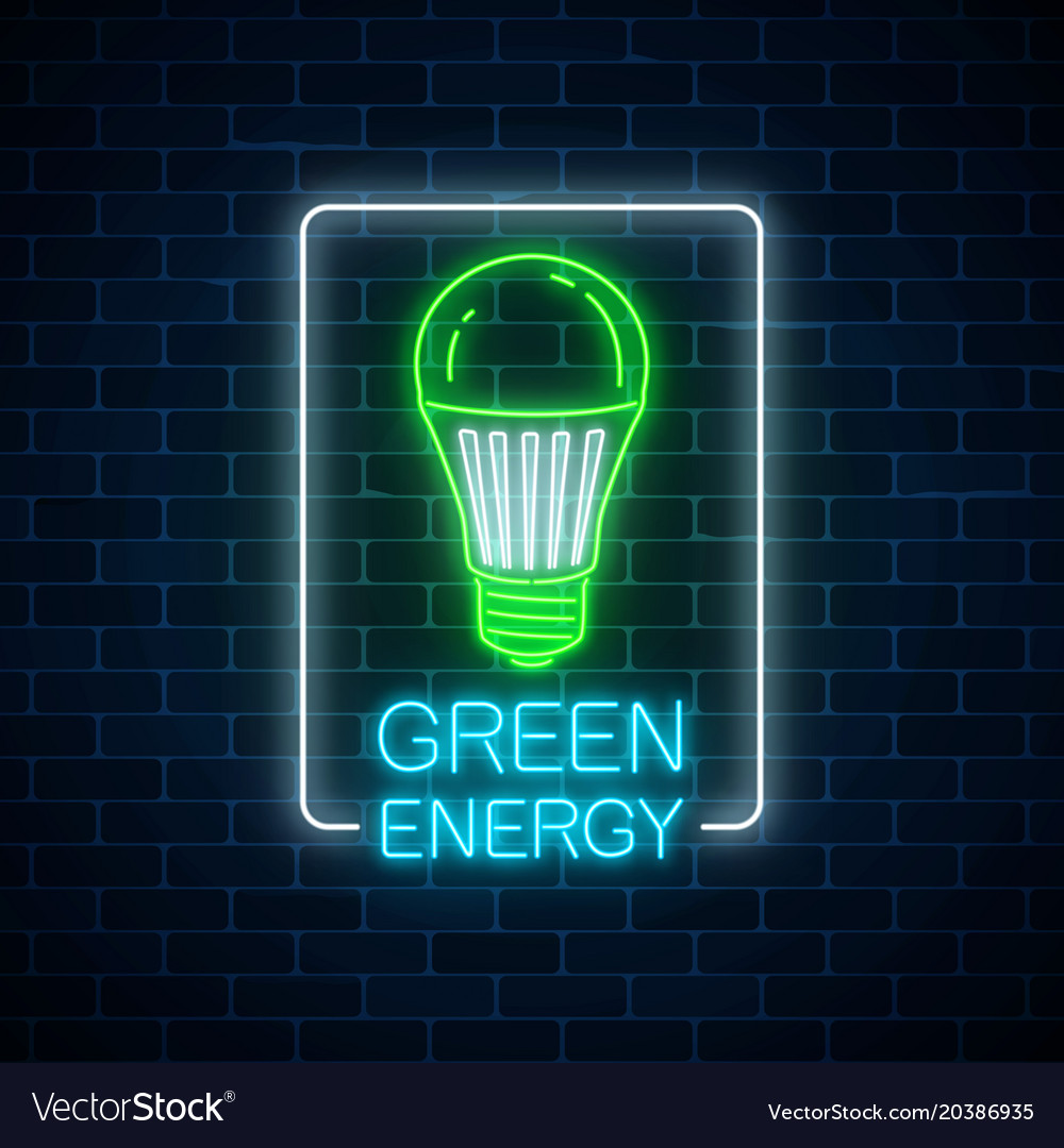 free green image sign light with led royalty neon of vector bulb glowing