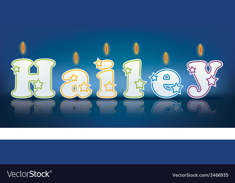 HAILEY written with burning candles vector image