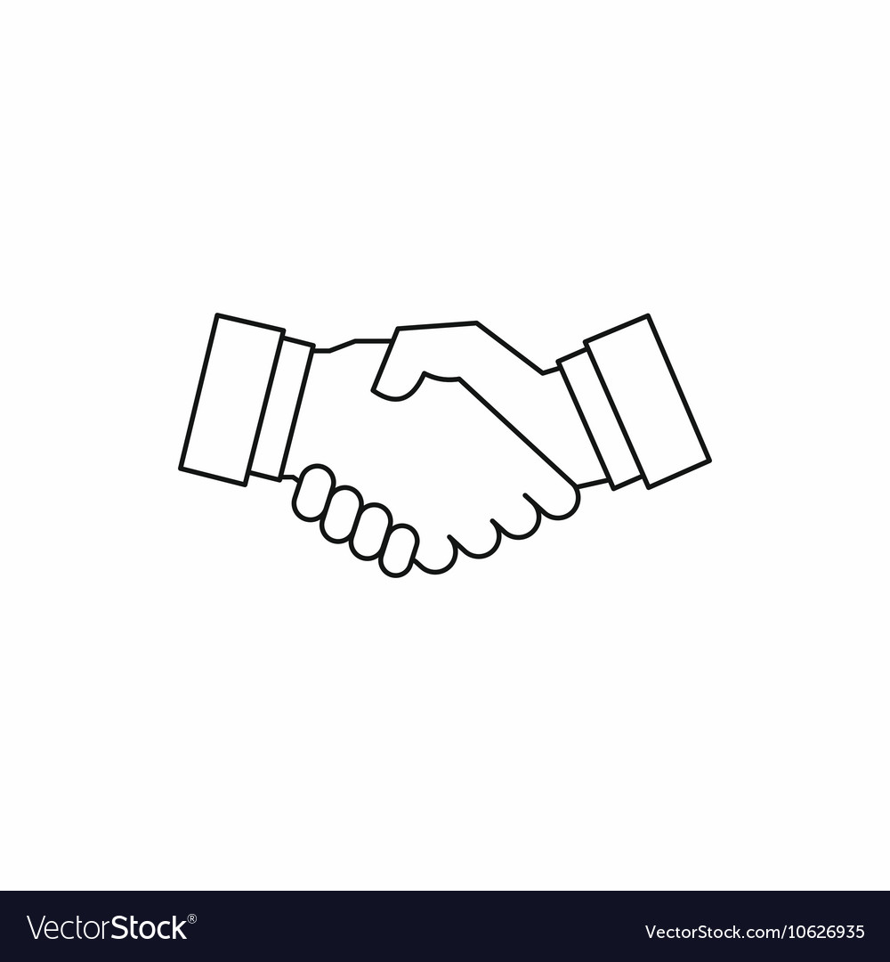 Handshake icon in outline style vector image