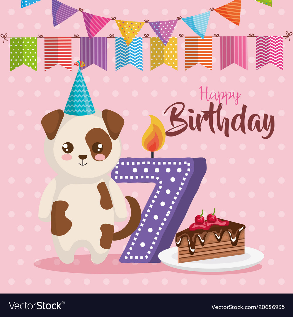 Happy Birthday Card With Dog Royalty Free Vector Image