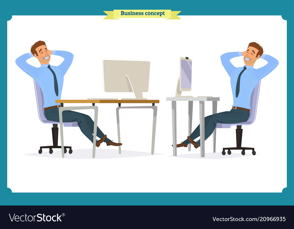 Male office worker poses sitting at computer