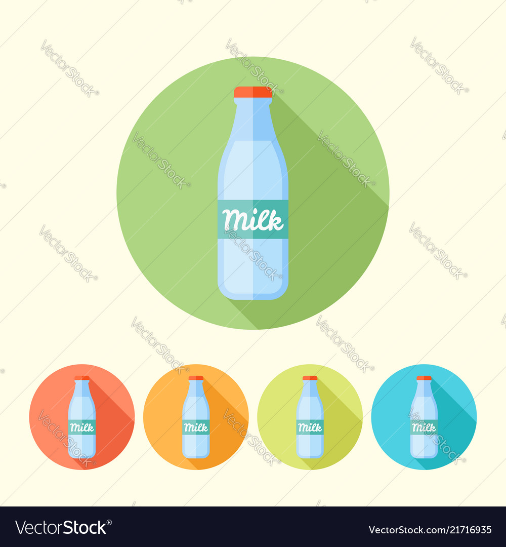 Milk bottle round icons with long shadow