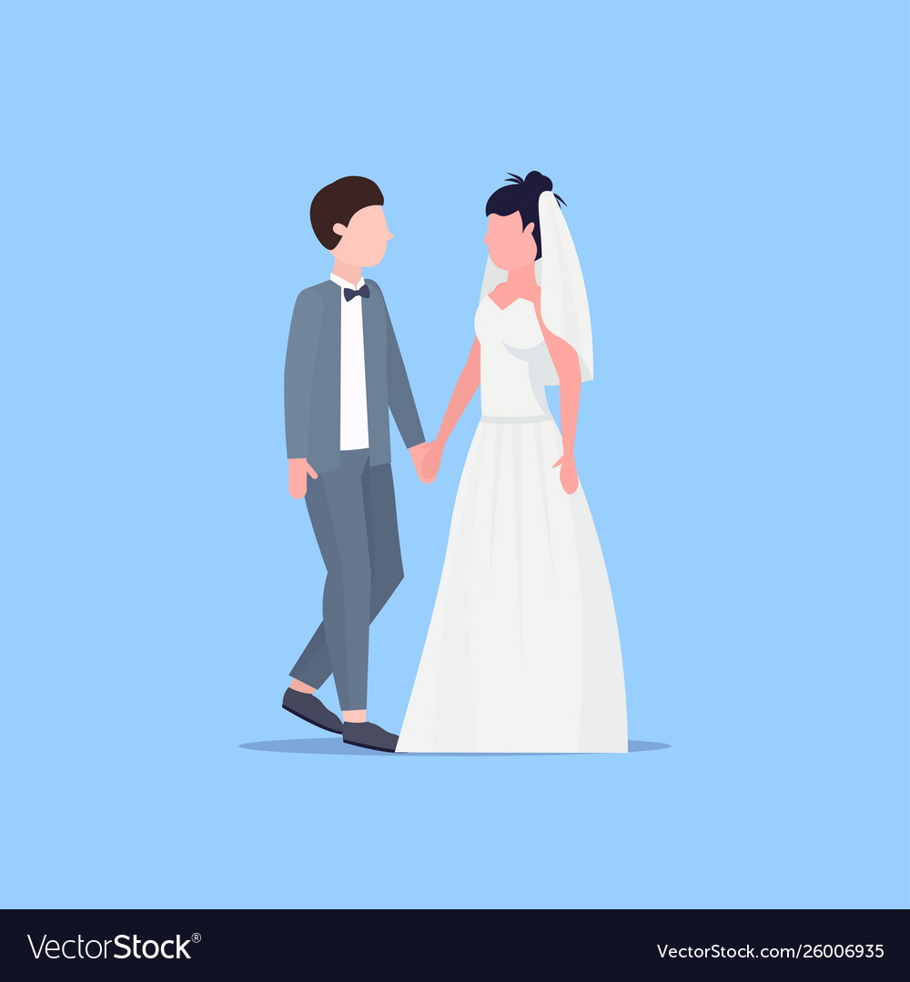 Newly weds man woman standing together romantic