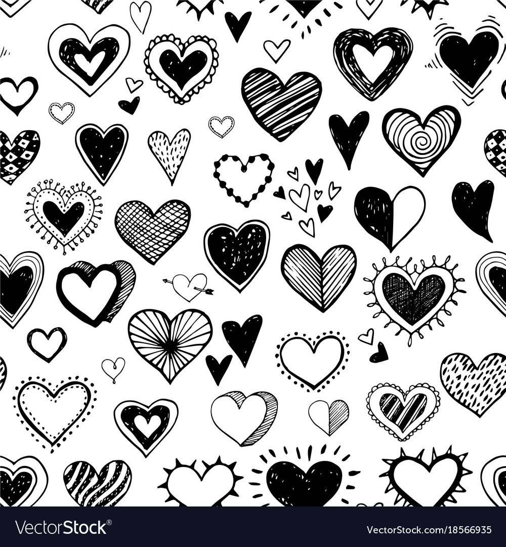 Seamless background with black doodle sketch
