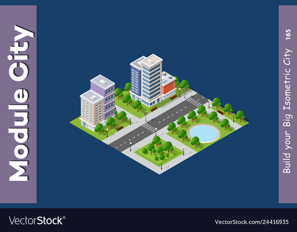 Set modern isometric buildings