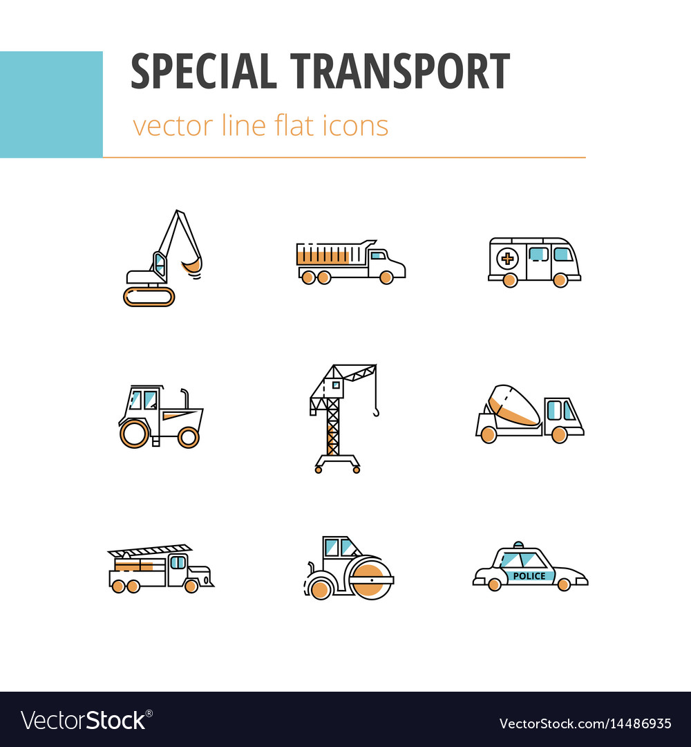 Special transport flat linear icons with