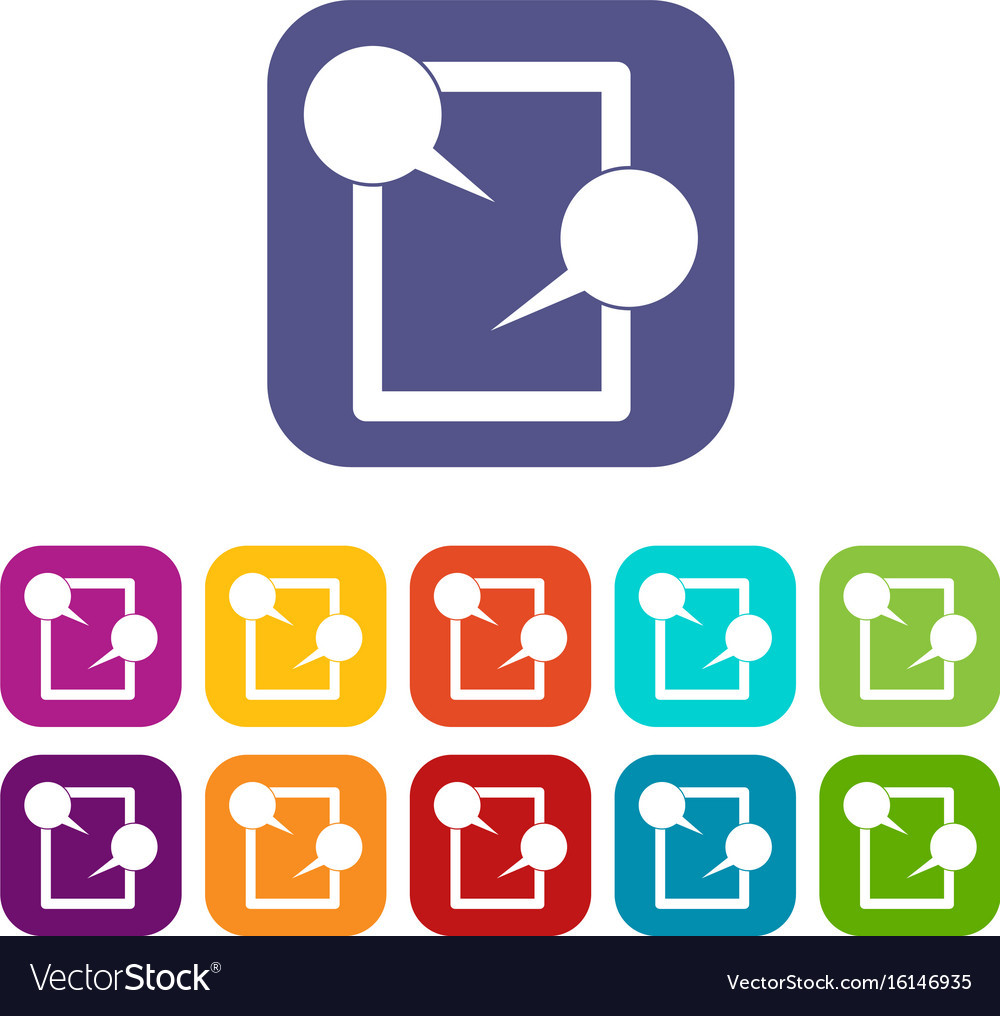 Tablet chatting icons set