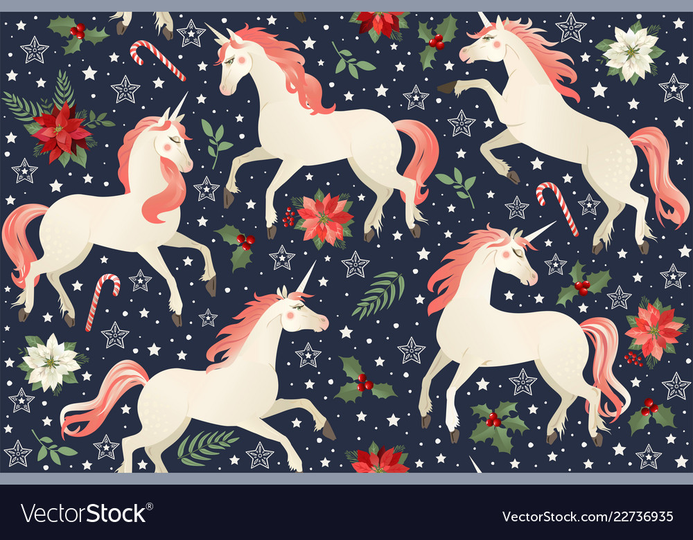 Unicorns on a christmas floral background