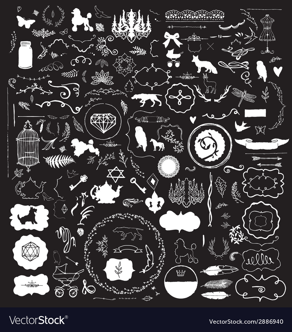 200 Hand Sketched Vintage Design Elements