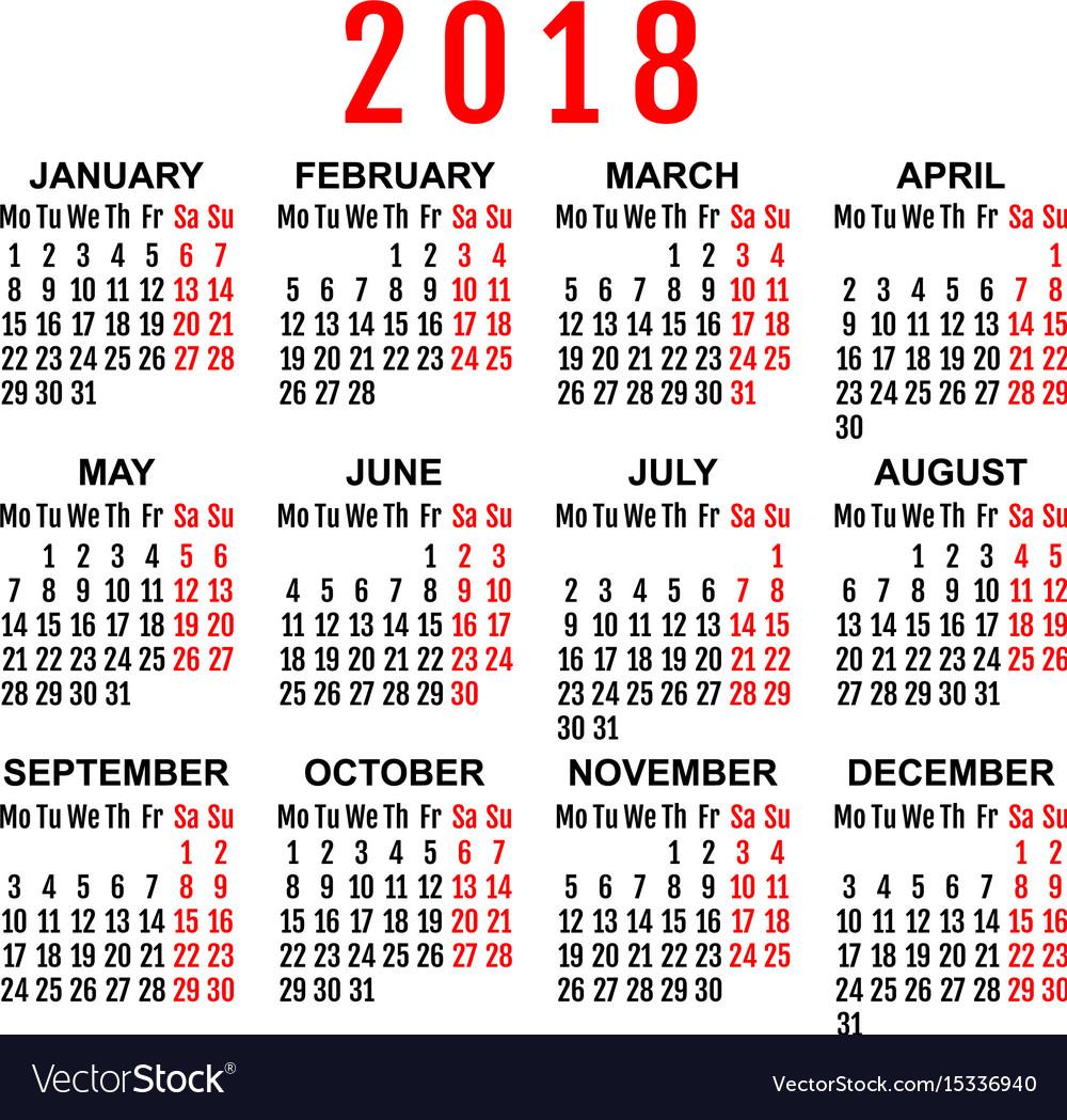 2018 year wall calendar grid template vector image