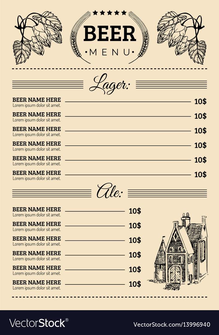 Beer menu design template pub restaurant
