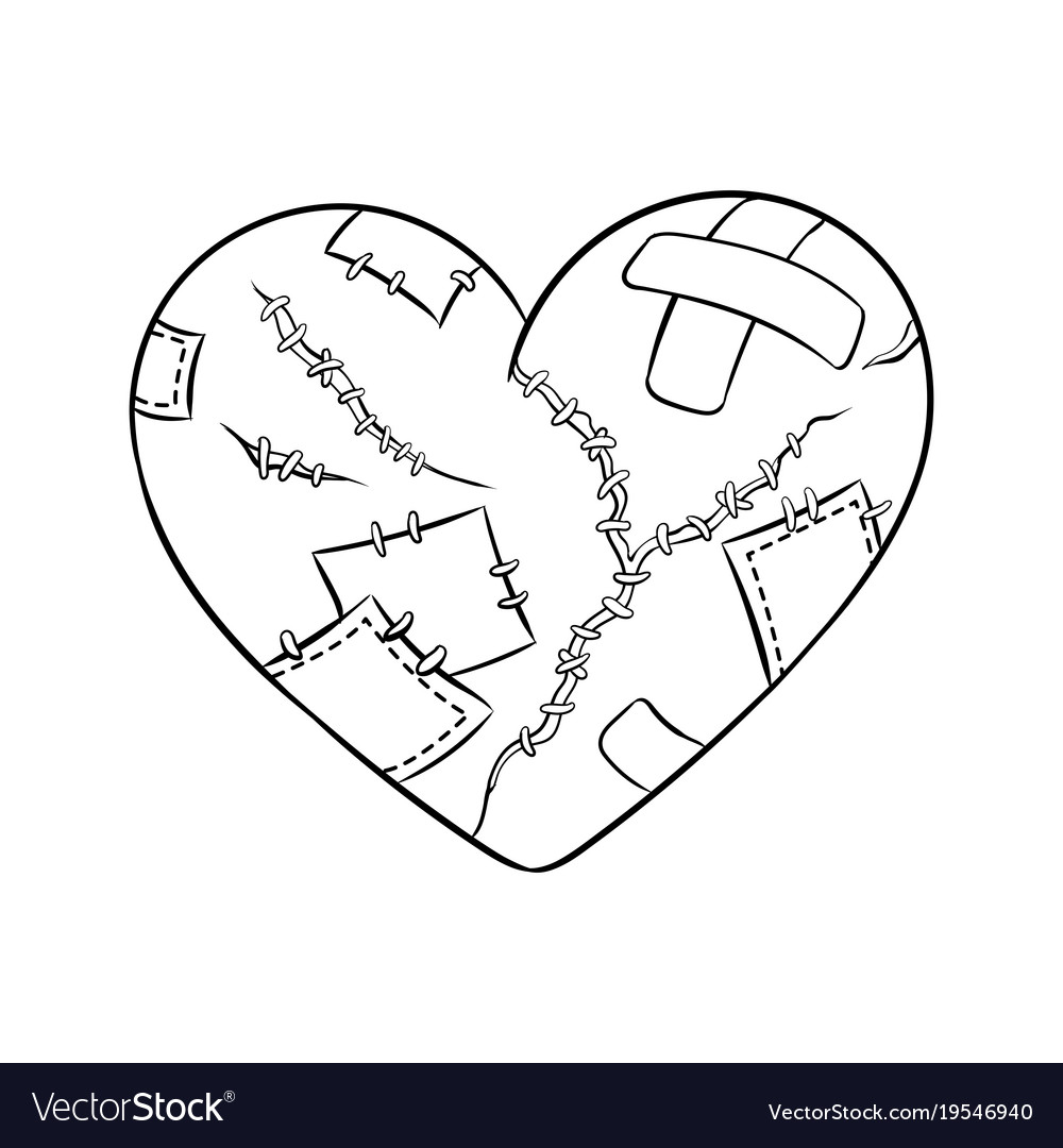 Broken Heart Metaphor Coloring Book Vector Image