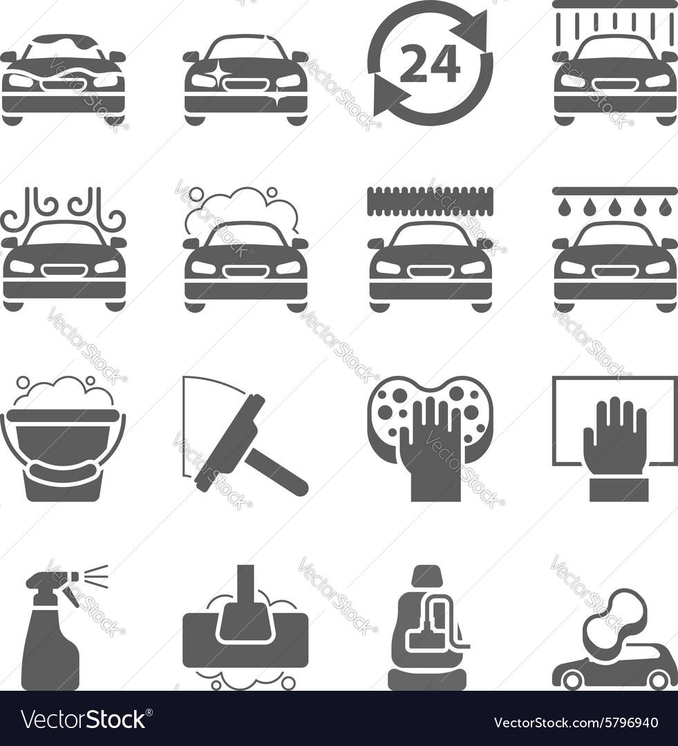 Car wash black icons set