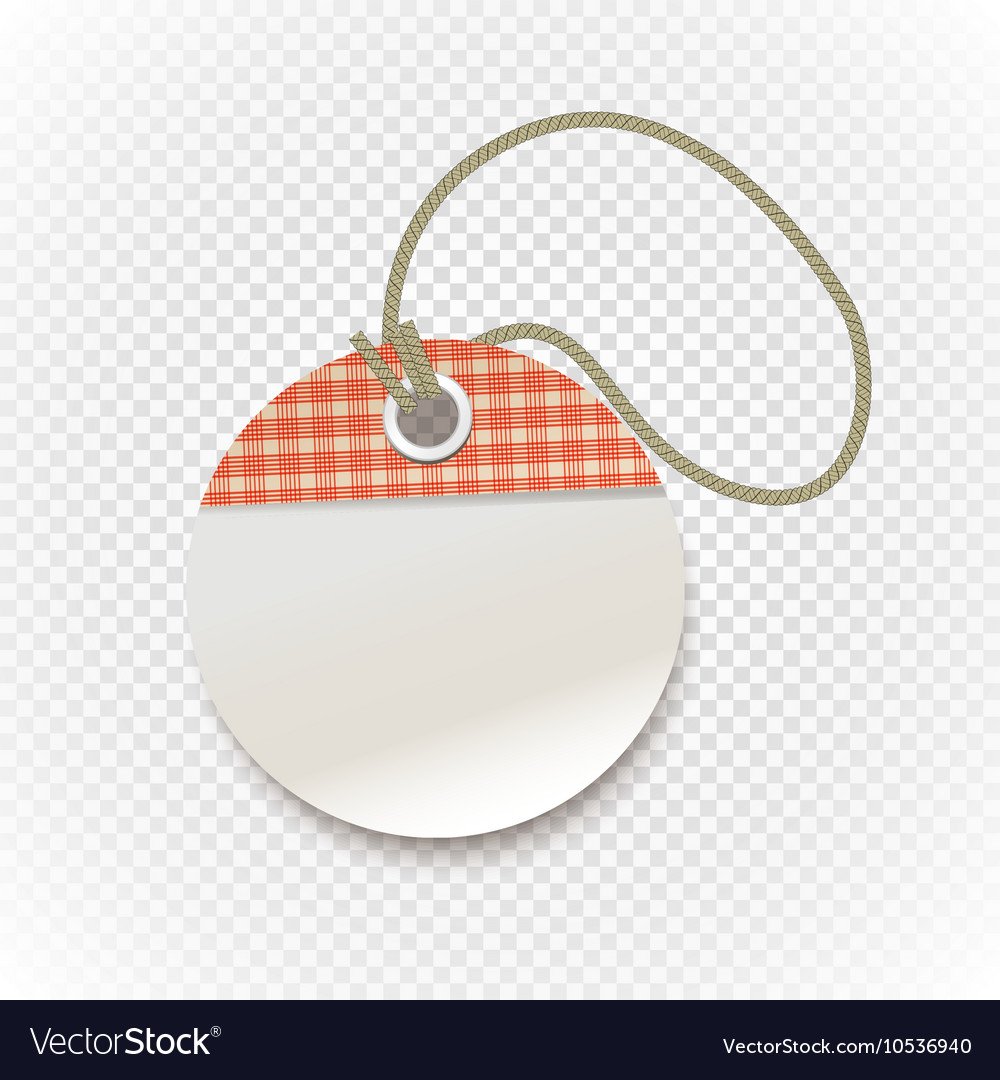 Checkered shopping tag with rope on transparent