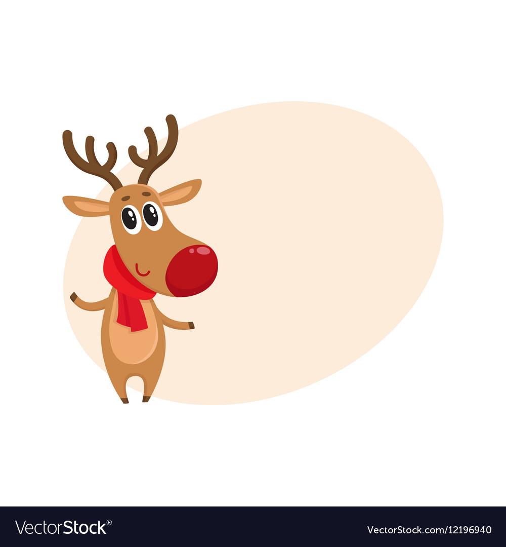 Christmas Reindeer In Red Scarf Cartoon