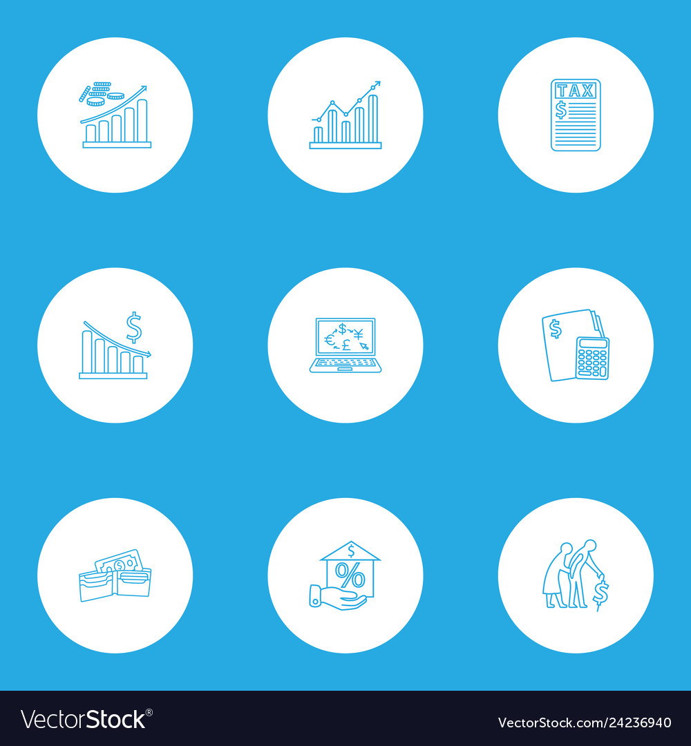 Finance icons line style set with profit