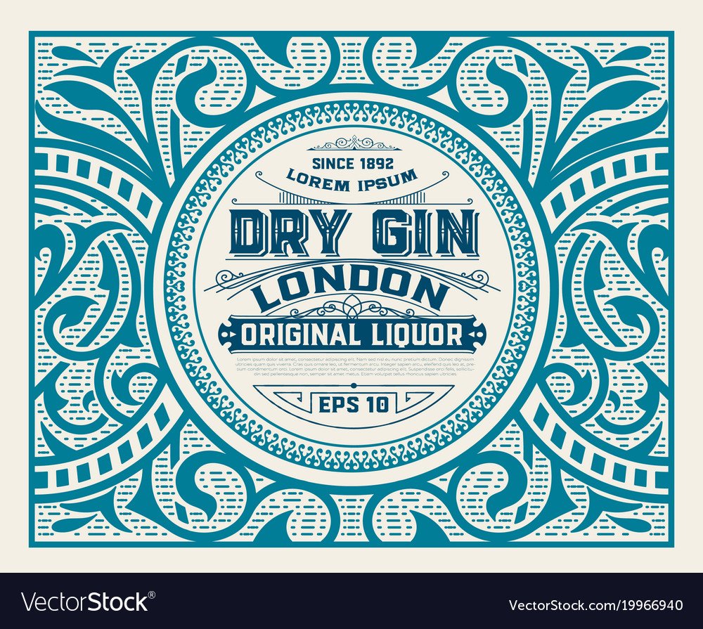 Gin label with floral ornaments