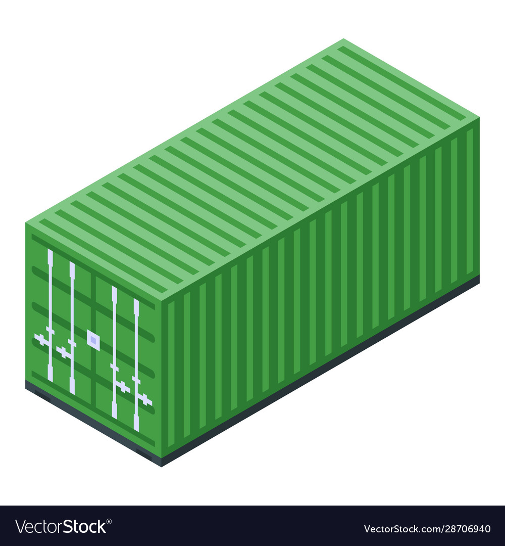 Green cargo container icon isometric style