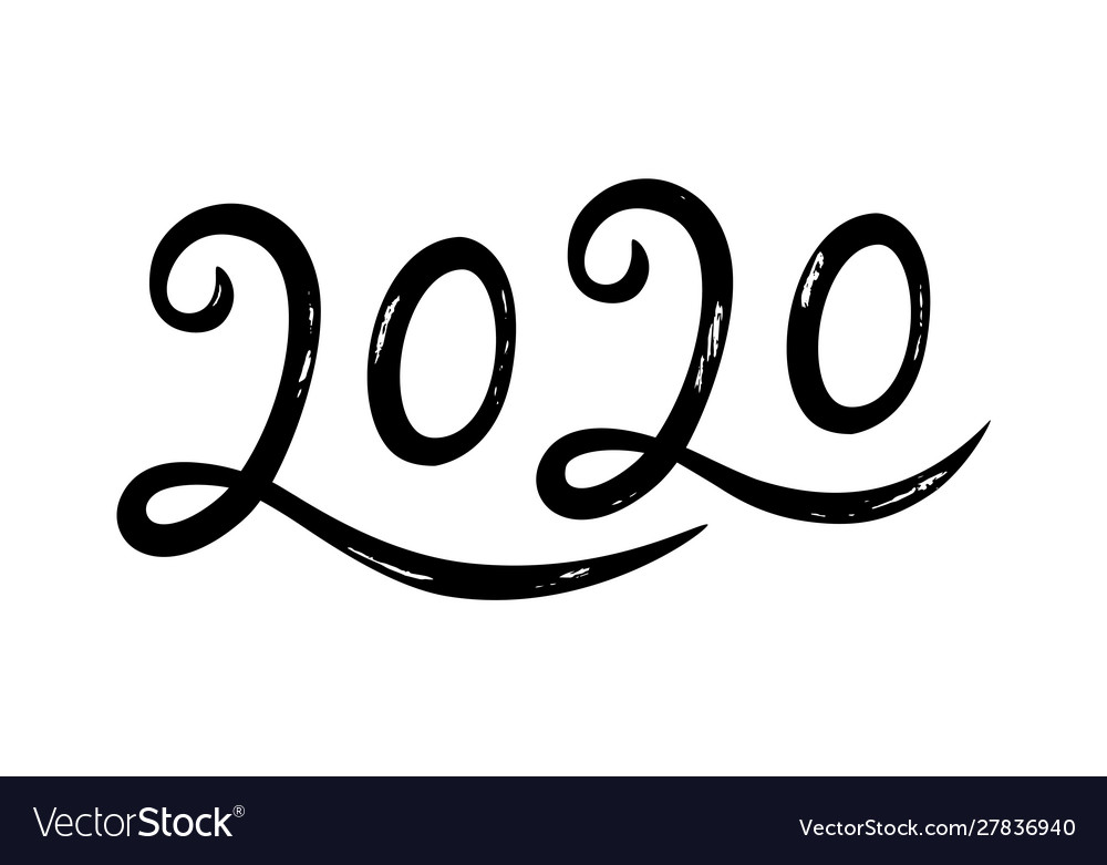 Hand drawn lettering greeting card for 2020 happy