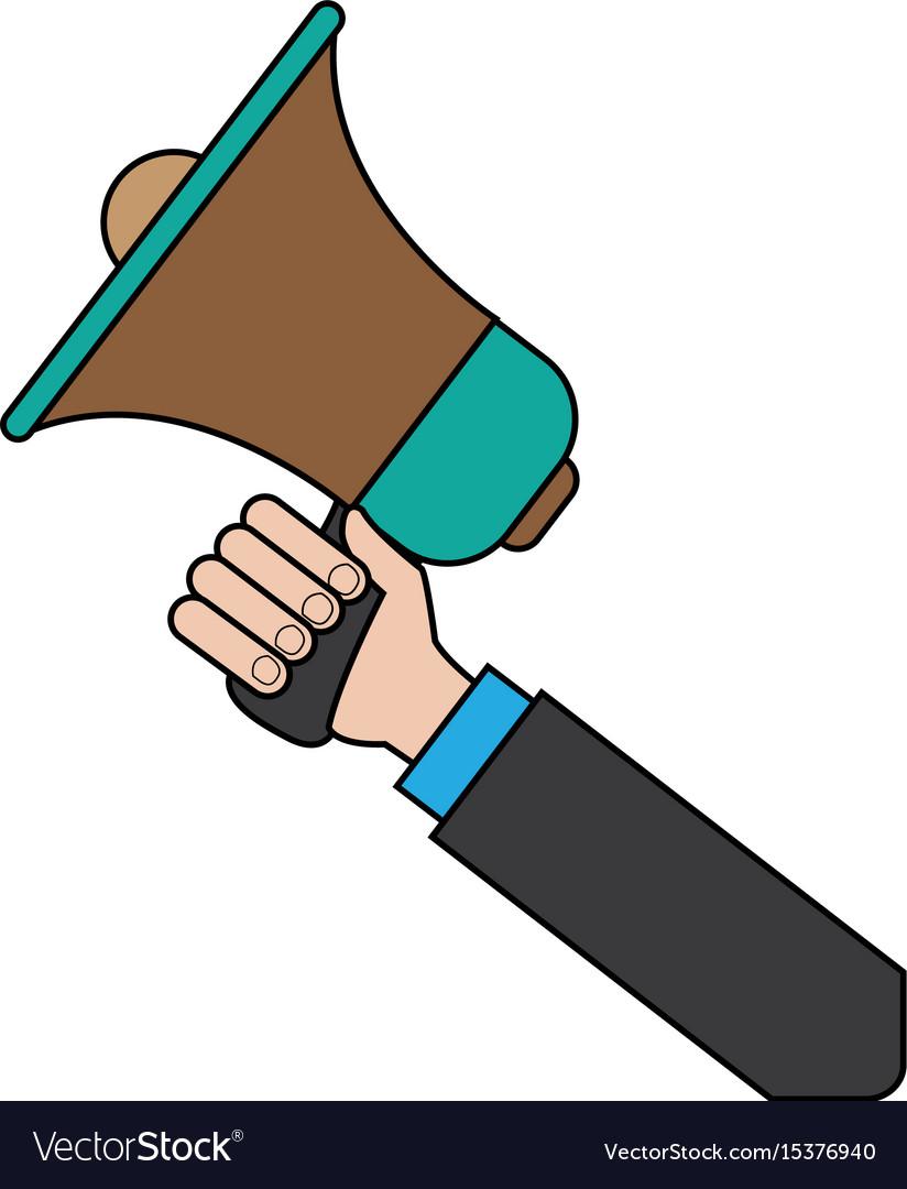 hand holding speaker loud marketing business vector image vectorstock