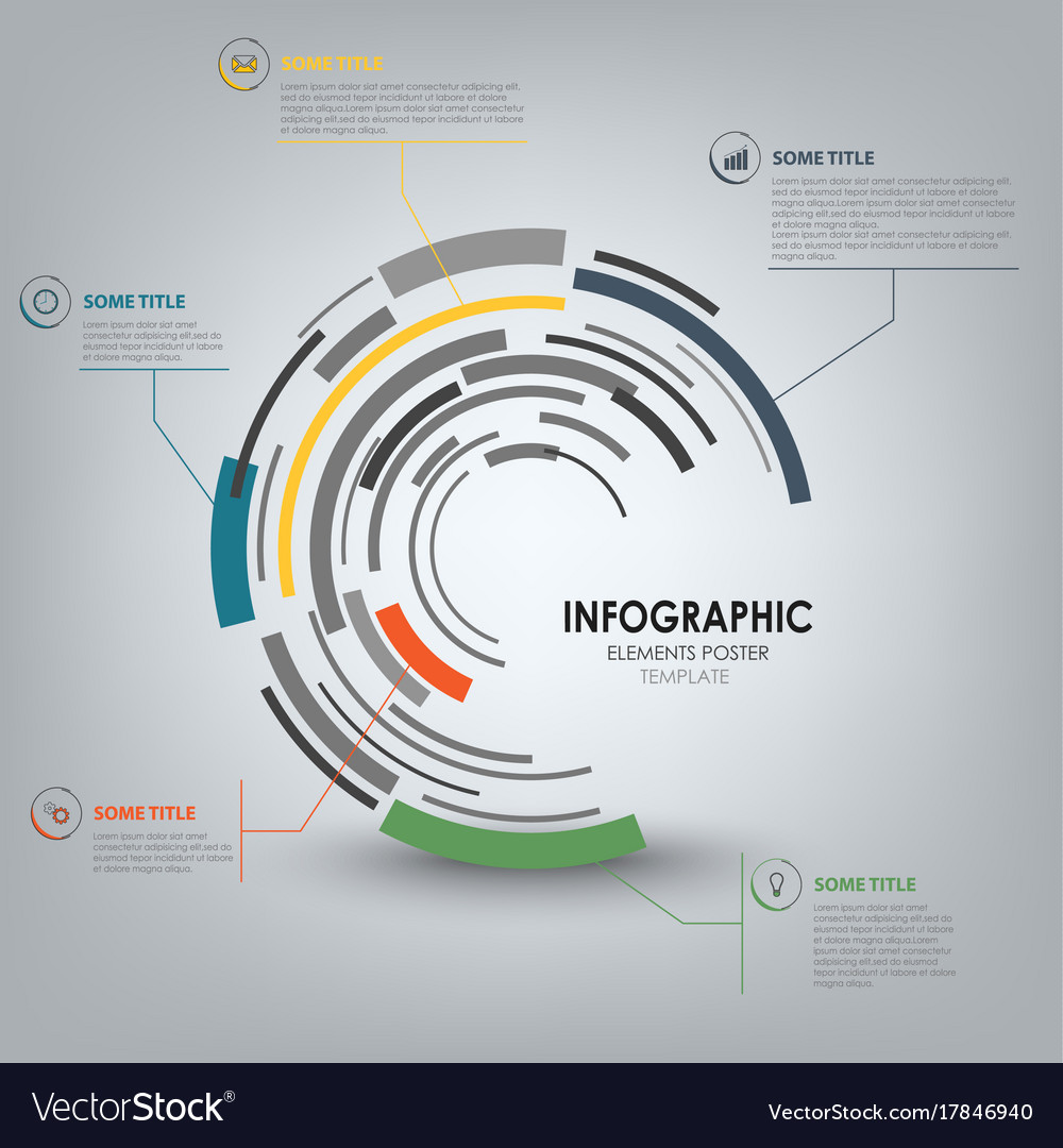 Info graphic with abstract technical design round vector image