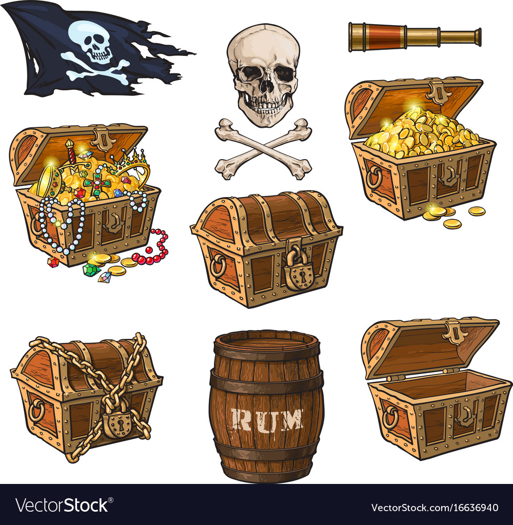 Pirate objects treasure chests flag rum barrel