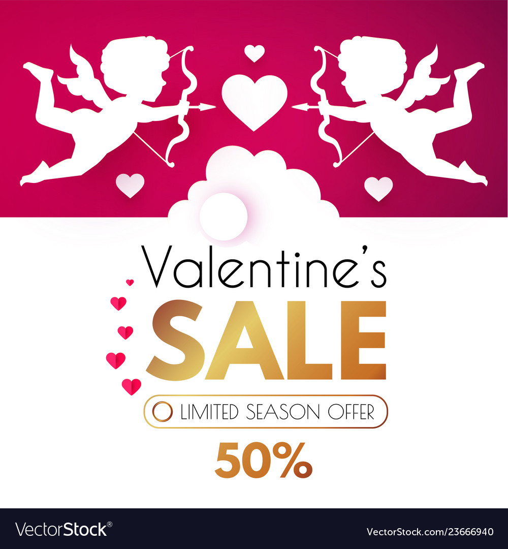 Valentine s day sale cute design template with
