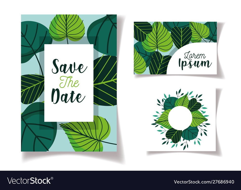 Wedding save date floral cards green foliage