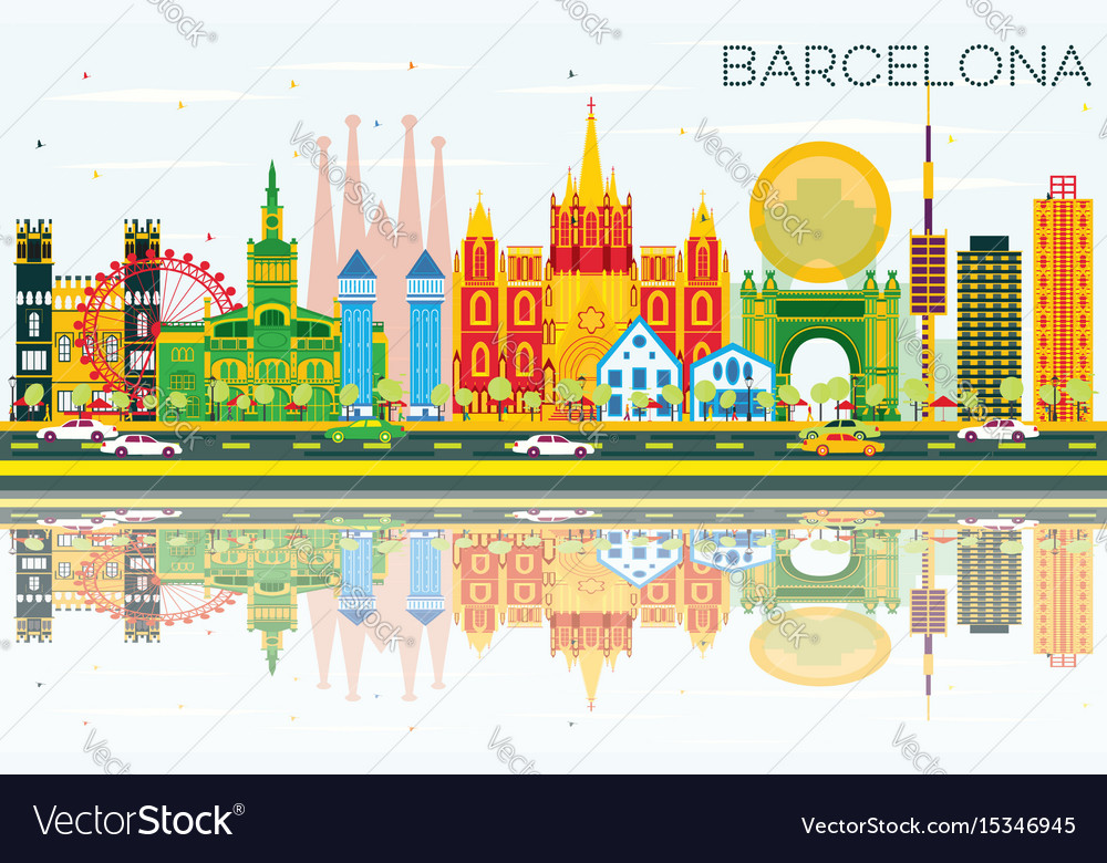 Barcelona skyline with color buildings blue sky