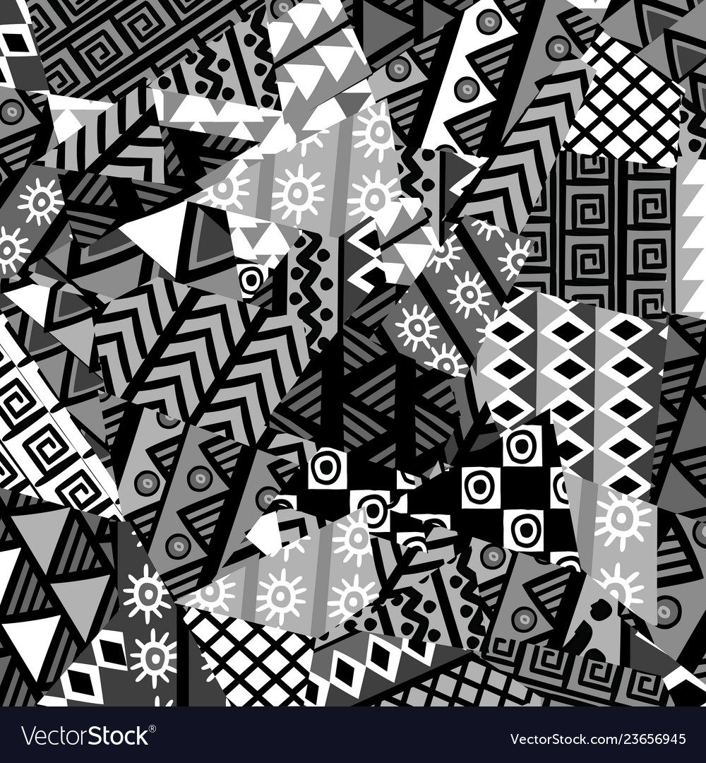 Black and white patchwork background with african