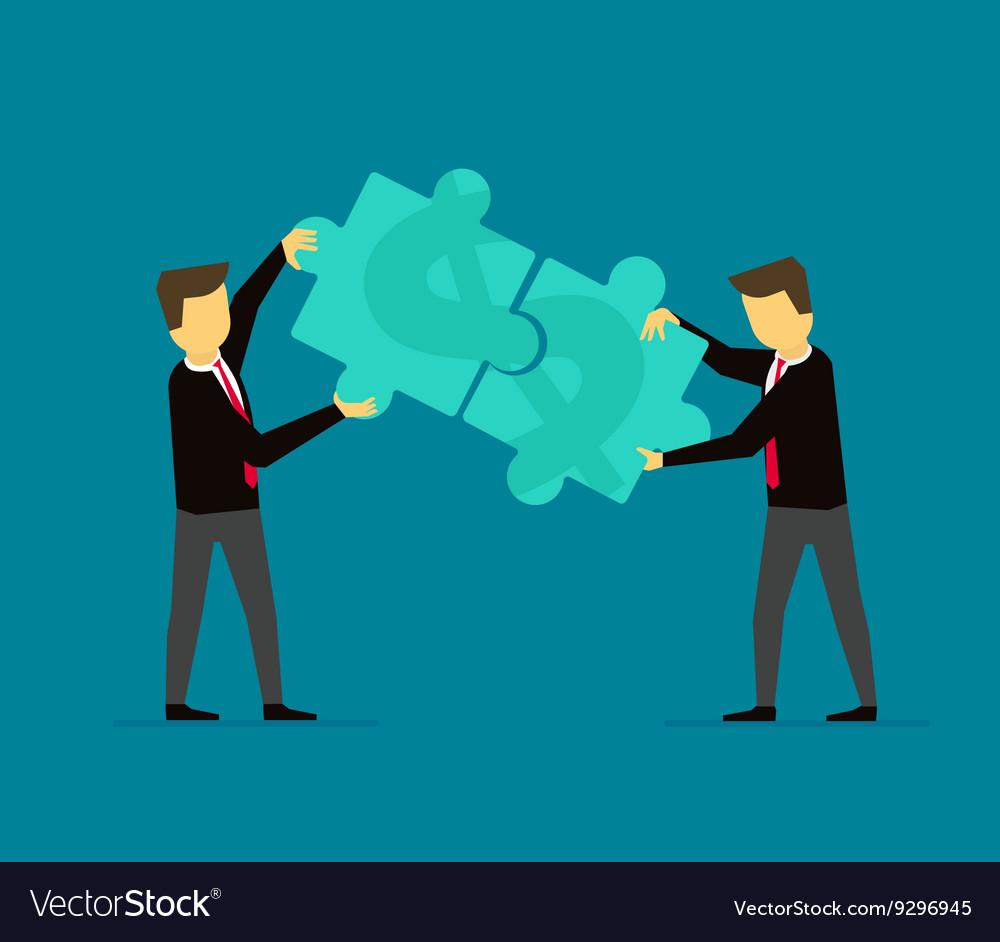Businessmen make money puzzle cooperation