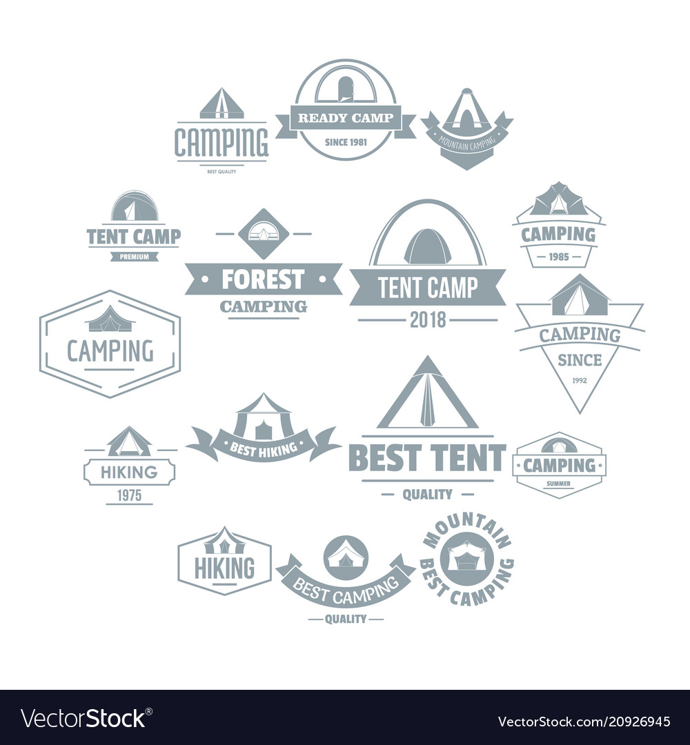 Camping tent logo icons set simple style