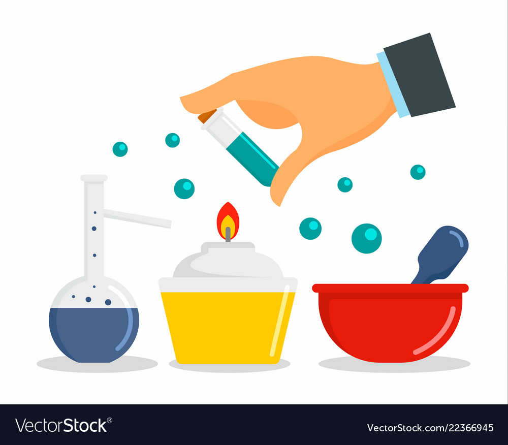 Chemical laboratory concept background flat style