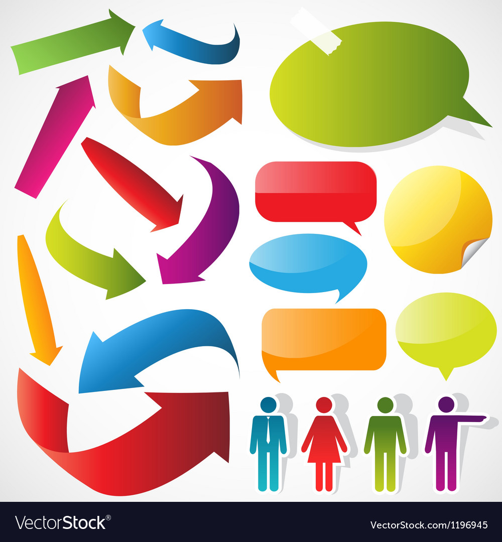 Color arrows speech bubbles and people icons