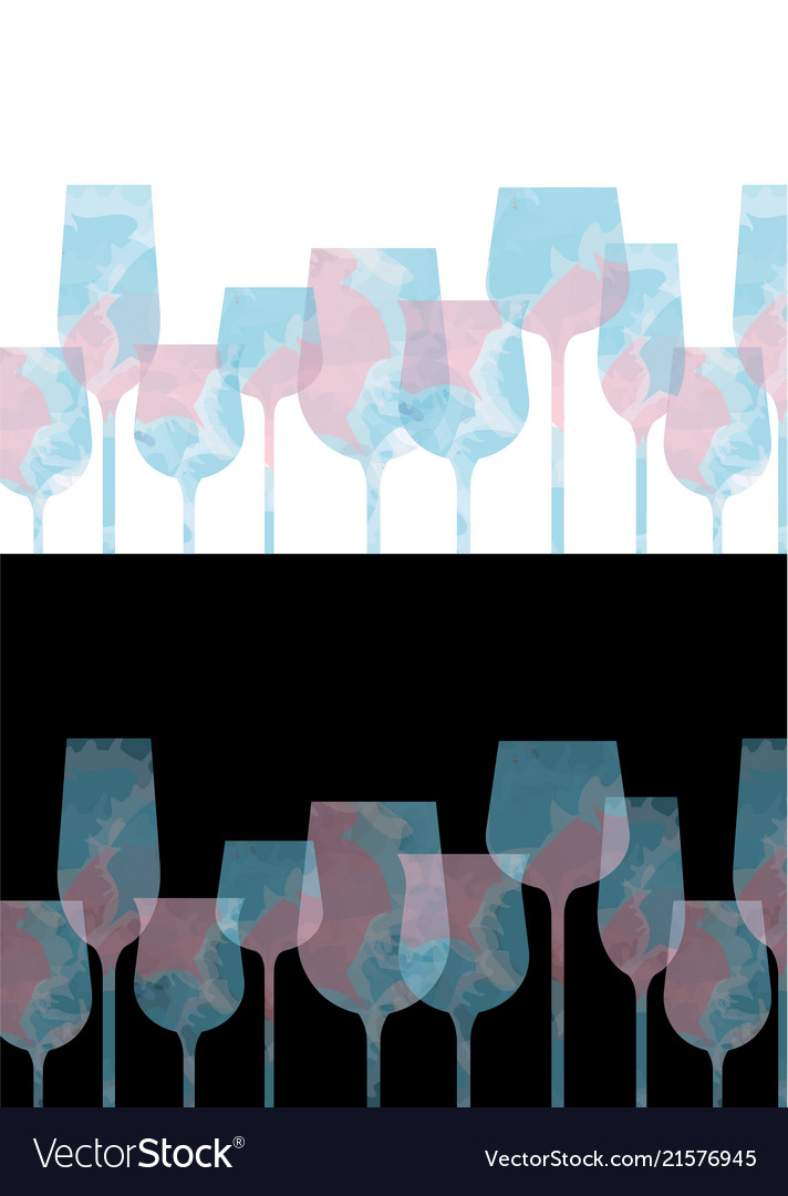 Colorful pastel wine glass with pink and blue