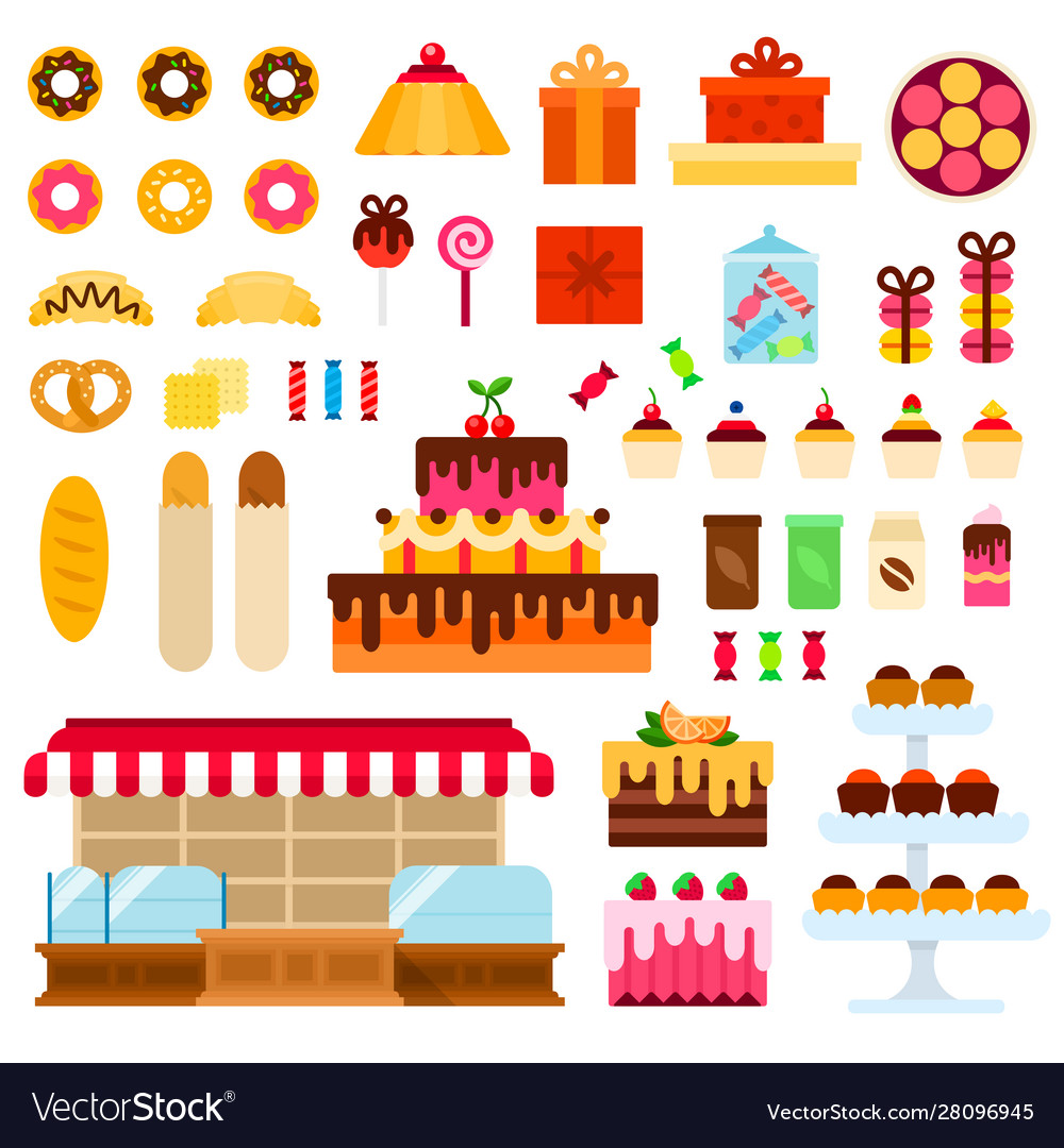Confectionery shop flat set with donuts cake