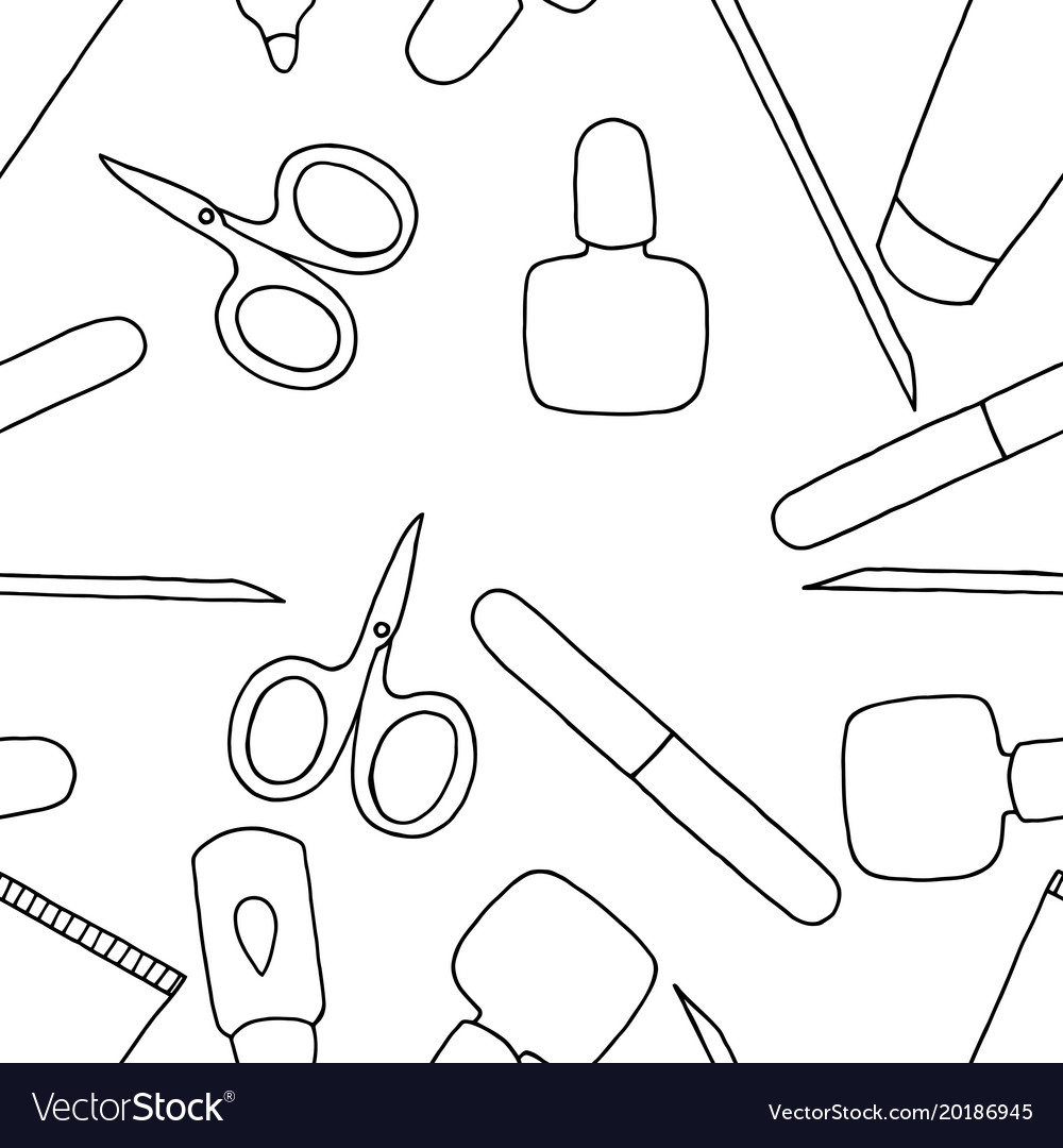 Fashion coloring book beauty nail art Royalty Free Vector