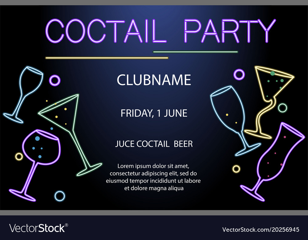flyer for night cocktail party royalty free vector image