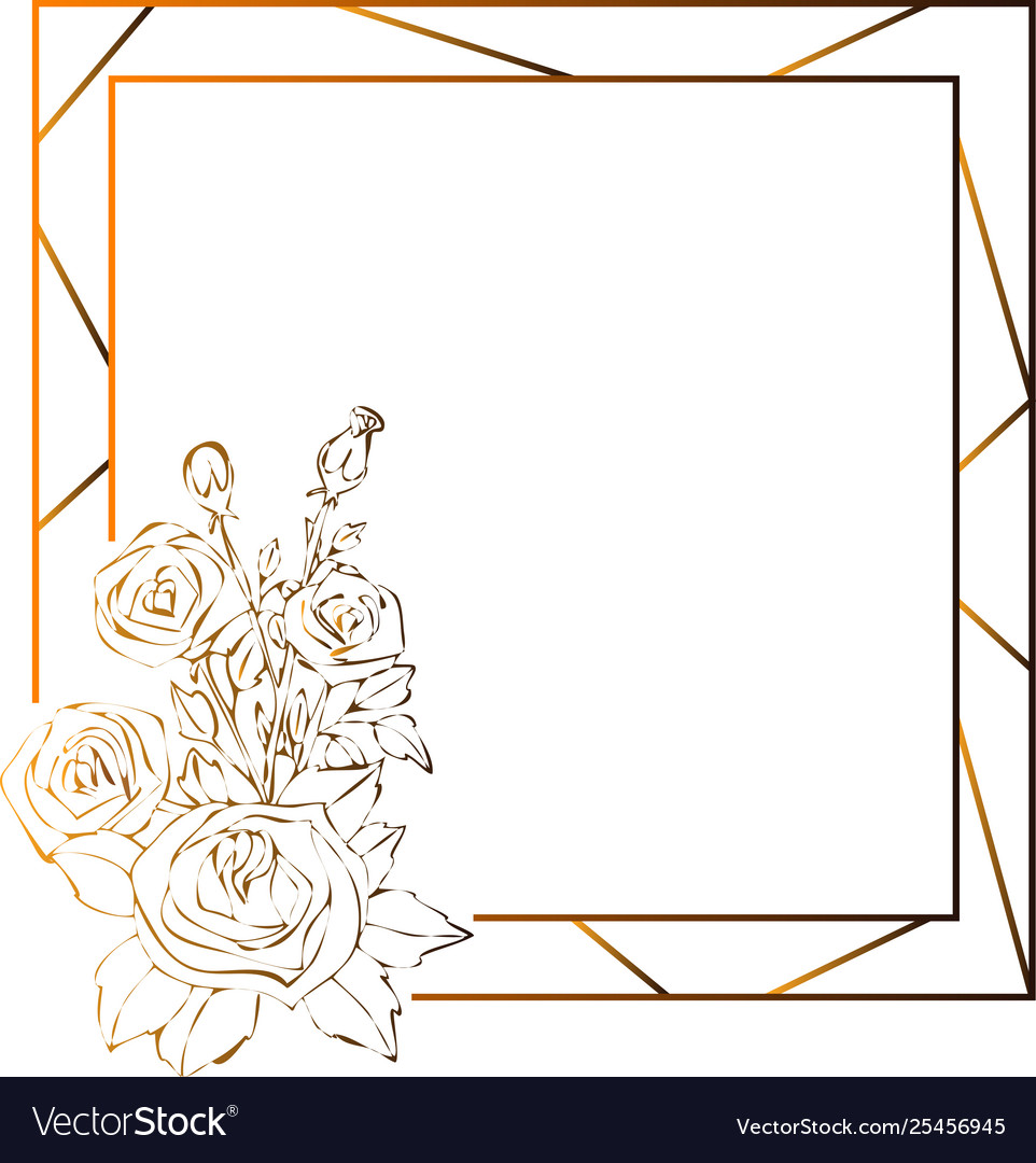 Gold Roses Frame Flowers Drawing And Sketch With Vector Image