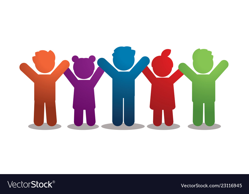 Group of children holding hands icon