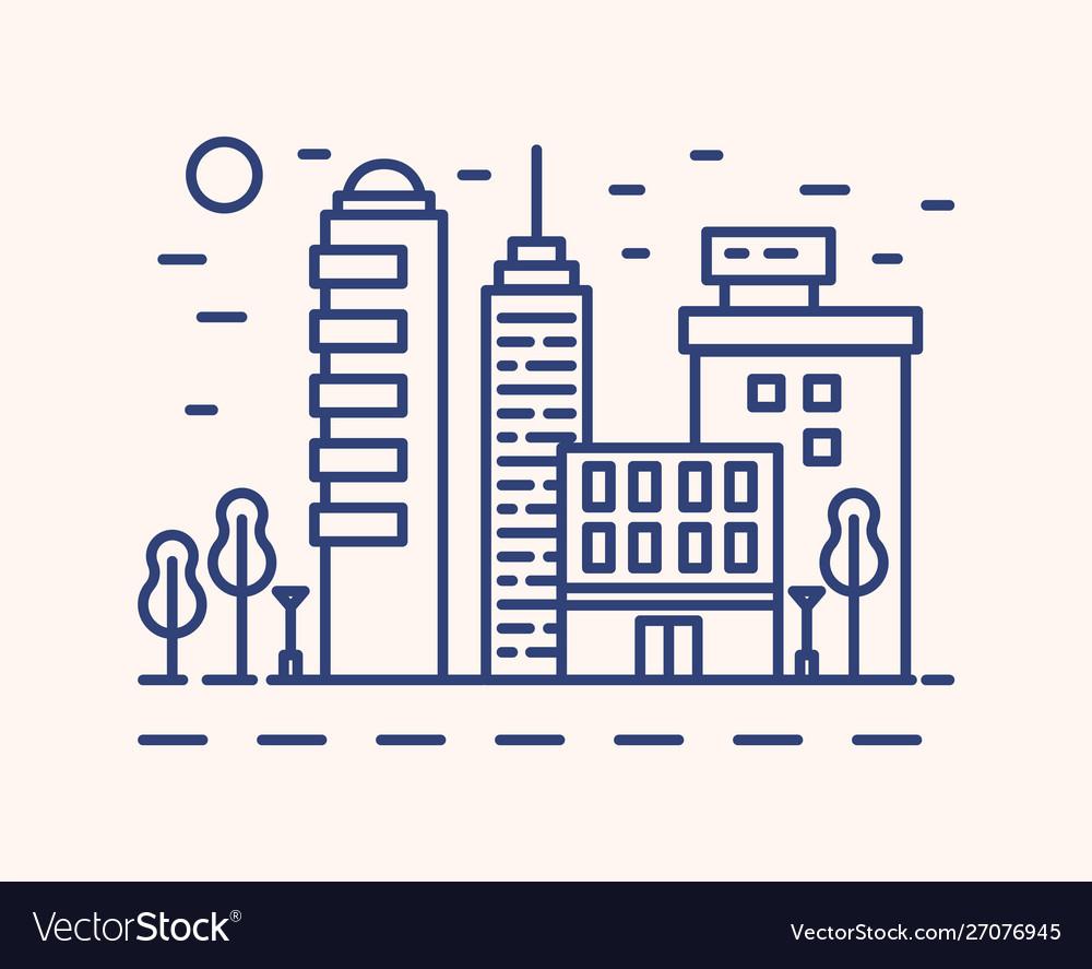 Modern cityscape outline blue