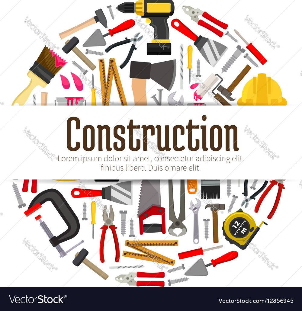 repair or construction tools or instruments banner  vectorstock