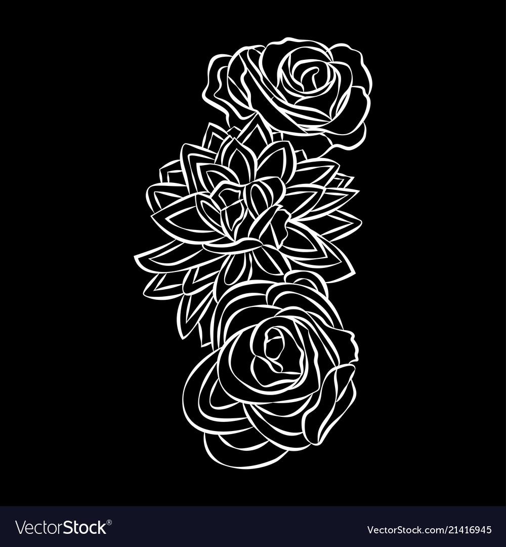 Rose motif flower design elements on black