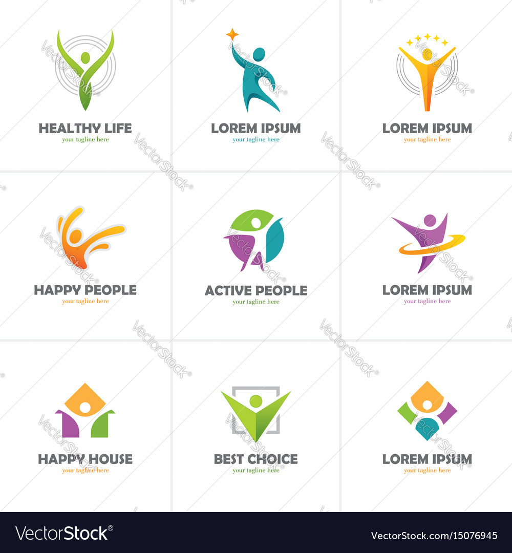 Set of abstract colorful human logo vector image