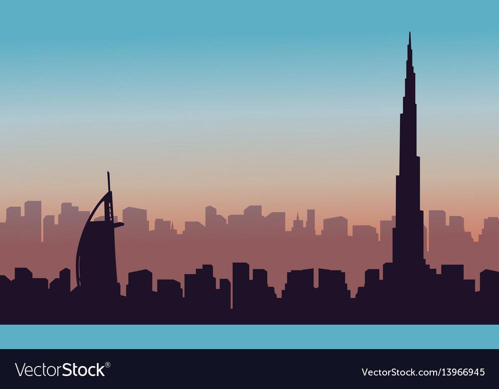 Silhouette of dubai building landscape vector image
