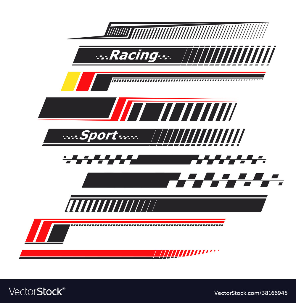 Sports Stripes Car Stickers Racing Decals For Vector Image