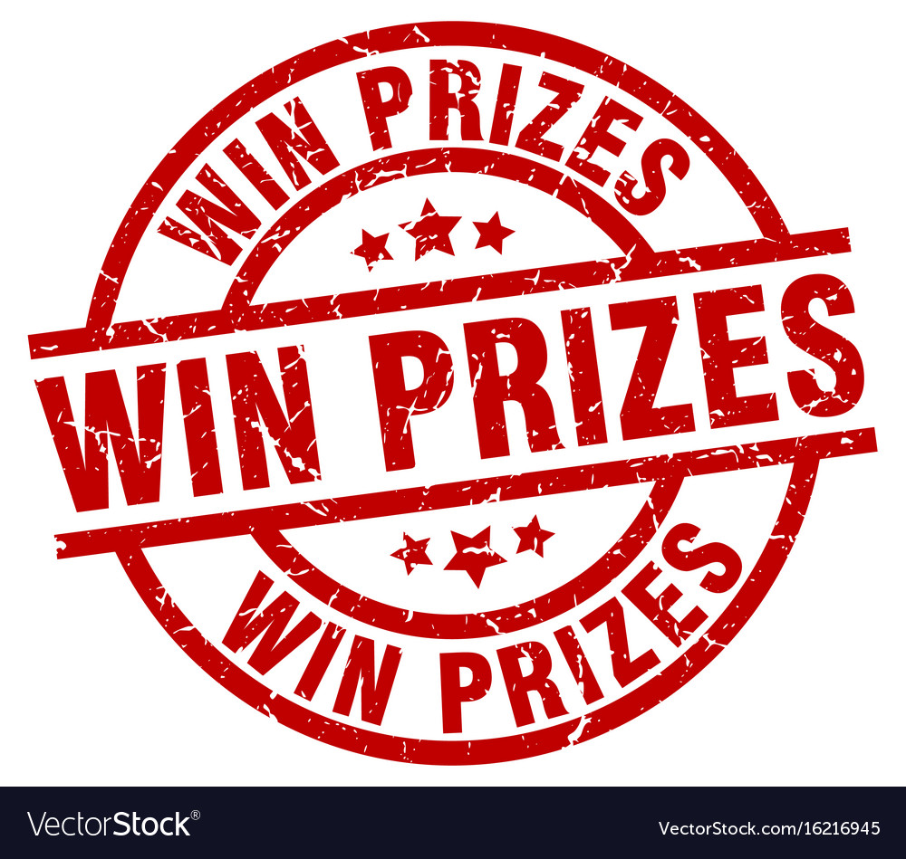 Win prizes round red grunge stamp