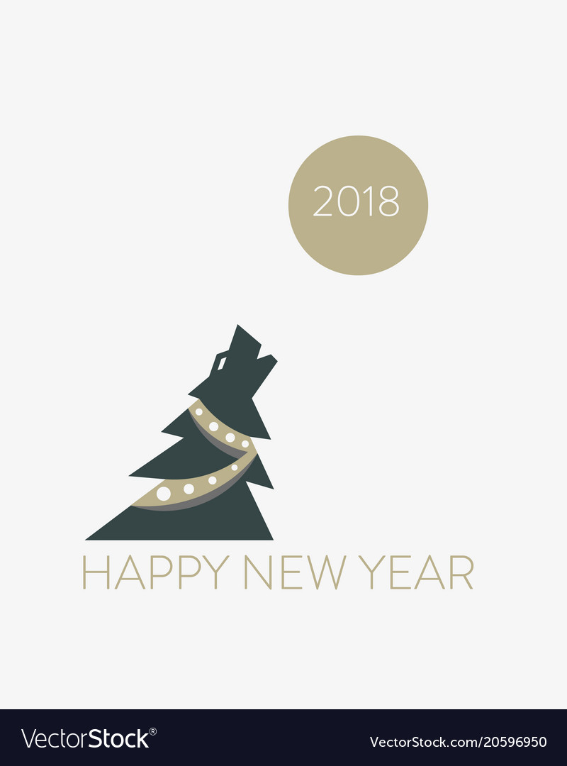 Christmas tree dog symbol chinese new year humor Vector Image