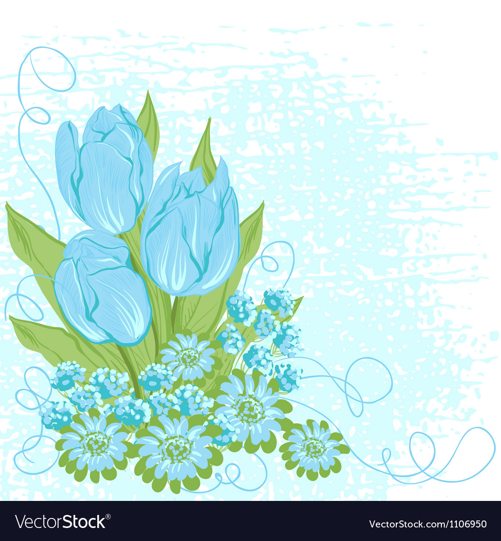 Design Card Of Tulips Flower Background Royalty Free Vector