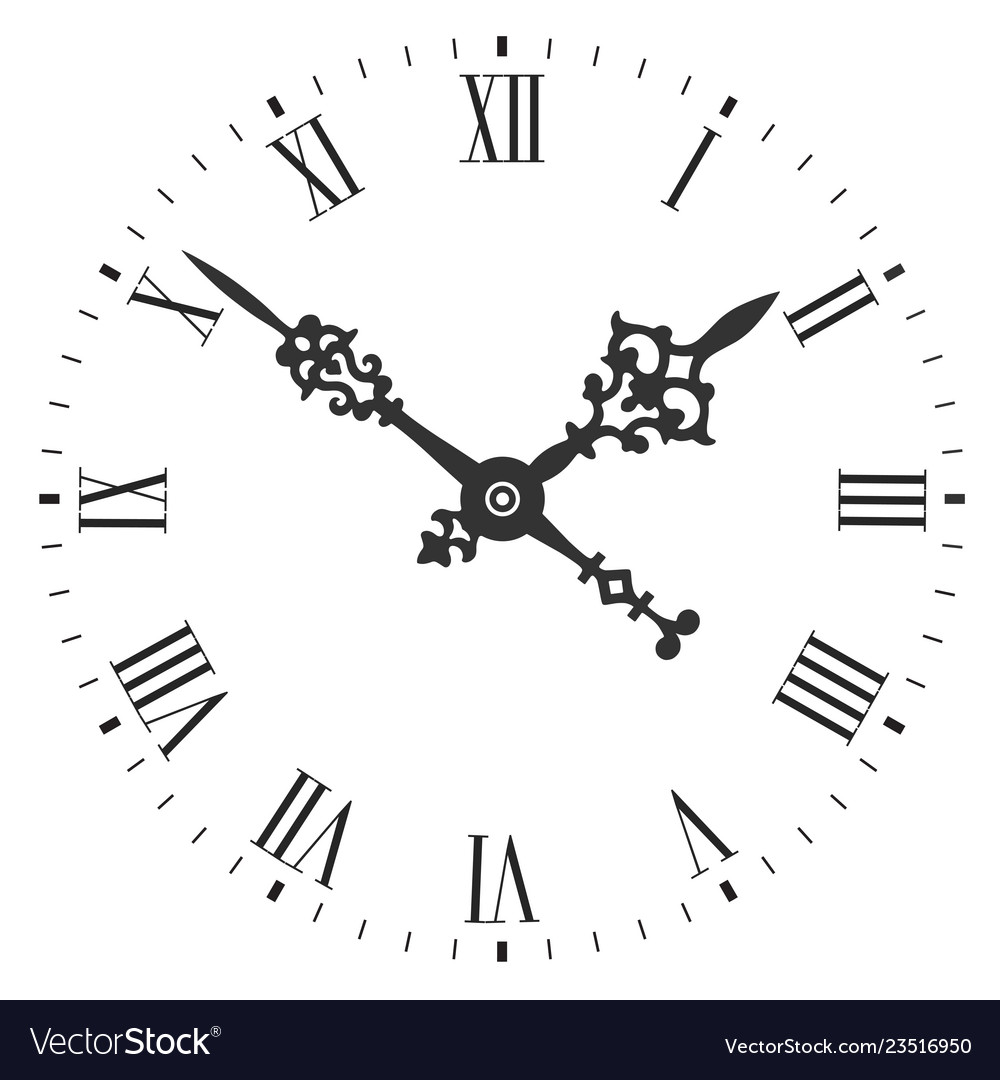 Elegant clock face with roman numerals and tick
